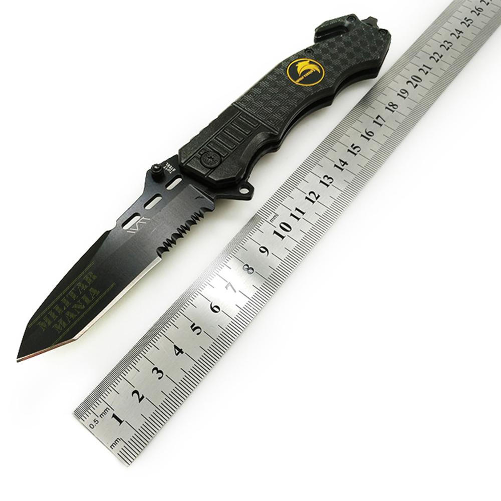 Canivete Aço Inox Preto Tático Militar Capa Bolsa Presilha Corta Corda Quebra Vidro e abertura com mola