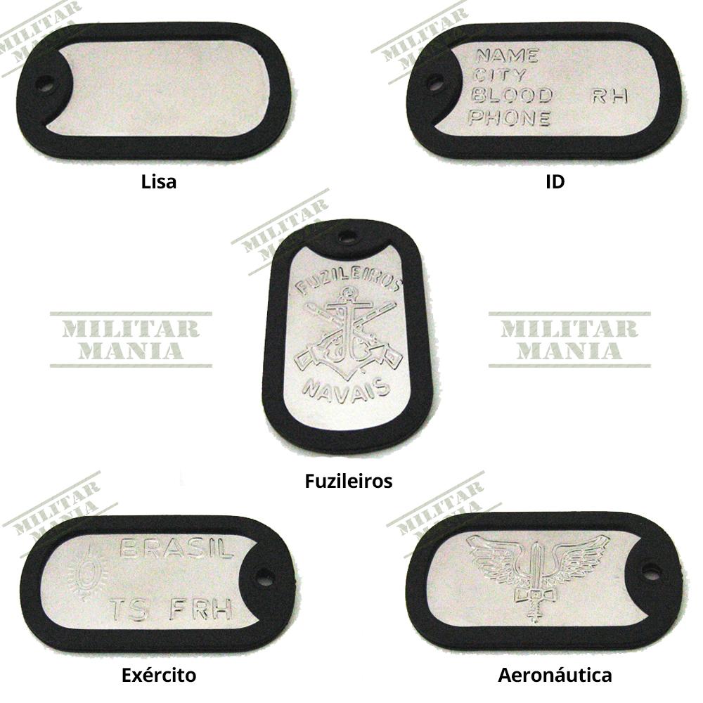 Dog Tag Dogtag Placa Plaqueta Identificação em aço inox Kit Modelo Militar